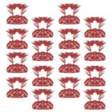 Design exotic Ornaments red white ananases Stock Photo