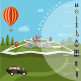 Design of explorer with spyglass and balloon on map with ad Stock Photo