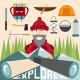 design of explorer with spyglasses and elements of hike Royalty Free Stock Images
