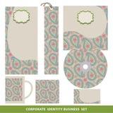Design för affär för företags identitet fastställd Orientalisk paisley modell Royaltyfri Foto