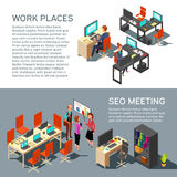 Design för affärsbanervektor med den modernt inre för isometrisk arbetsplats och folk för kontor 3d vektor illustrationer
