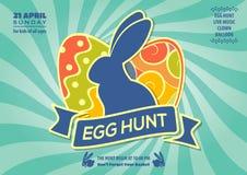 Design för affisch eller för inbjudan för jakt för påskägg med ägg och den gulliga kaninen också vektor för coreldrawillustration royaltyfri illustrationer