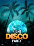 Design för affisch för disko för sommarstrandparti med diskobollbeståndsdelen Reklambladet för vektorstrandpartiet med gömma i ha stock illustrationer
