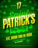 Design för affisch för parti för dag för St Patrick ` s stock illustrationer