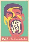 Design för affisch för jazzmusikfestival retro Stock Illustrationer