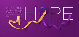 Design för affisch för kalligrafi för medvetenhet för blåsacancer hope Realistisk ringblomma och blått och purpurfärgat band Maj  royaltyfri illustrationer