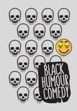 Design för affisch för komedi för svart humor begreppsmässig med A som ler skratta Emoji och skallevektorbild royaltyfri illustrationer