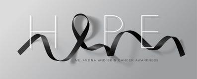 Design för affisch för melanom- och för hudcancer medvetenhetkalligrafi hope Realistiskt svart band Maj är cancermedvetenhet vektor illustrationer