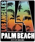 Design för affisch för skjorta för Los Angeles Palm Beach T royaltyfri illustrationer