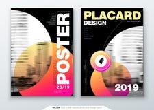 Design för affischmallorientering Affärsaffisch, plakatbakgrundsmodell i ljusa färger Vektorillustration med rött royaltyfri illustrationer