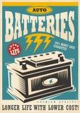 Design för annons för tappning för automatisklite batterier royaltyfri illustrationer