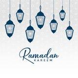 Design för arabiskaramadan kareem med hängande lampor vektor illustrationer