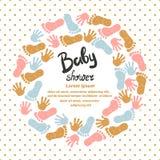 Design för baby showerinbjudankort vektor illustrationer