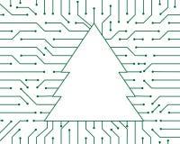 Design för bakgrund för abstrakt begrepp för teknologi för vektor för julgrangräsplanströmkrets stock illustrationer