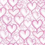 Design för bakgrund för modell för repetition för rosa hjärtor för vektor sömlös Utmärkt för romantiska Valentine Day kort, inpac royaltyfri illustrationer