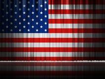 Design för bakgrund för USA etappgardin av amerikanska flaggan Arkivfoto