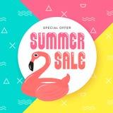 Design för bakgrund för sommarSale baner med flamingouppblåsbar Ri vektor illustrationer