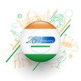 26 design för baner eller för affisch för beröm för Januari republikdag med illustrationen av berömda berömda indiska monument, d vektor illustrationer