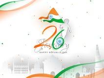 26 design för baner eller för affisch för beröm för Januari republikdag, pojkeinnehavnationsflagga och berömd indisk monumentillu royaltyfri illustrationer