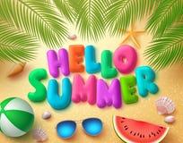 Design för baner för Hello sommarvektor i strandsandbakgrund stock illustrationer