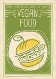 Design för baner för strikt vegetarianmat befordrings- med strikt vegetarianhamburgaren Arkivfoton