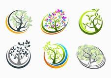 Design för begrepp för trädhälso-, logo-, natur-, brunnsort-, tecken-, massage-, symbols-, växt-, symbol-, yoga- och tillväxtutbi vektor illustrationer