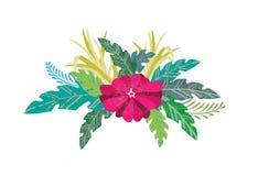 Design för blad- och blommaillustrationvektor Royaltyfri Bild