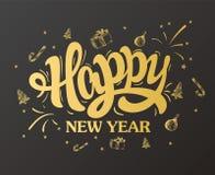 Design för bokstäver för lyckligt nytt år guld- också vektor för coreldrawillustration royaltyfri illustrationer