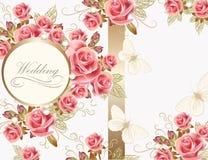 Design för bröllophälsningkort med rosor royaltyfri illustrationer