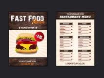 Design för broschyr för snabbmatvindmeny på träbakgrundsvektormall i formatet A4 reklamblad-, baner- och orienteringsdesign olivg stock illustrationer