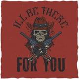 Design för cowboyt-skjorta etikett med illustrationen av skalleath hatten med två vapen på händerna Royaltyfri Bild