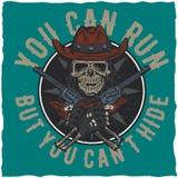Design för cowboyt-skjorta etikett med illustrationen av skalleath hatten med två vapen på händerna Royaltyfri Fotografi