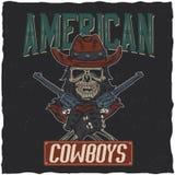 Design för cowboyt-skjorta etikett med illustrationen av skalleath hatten med två vapen på händerna Royaltyfria Bilder