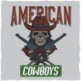 Design för cowboyt-skjorta etikett med illustrationen av skalleath hatten med två vapen på händerna Royaltyfri Foto