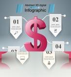 design för 3D Infographic isolerade den abstrakt för dollarsymbolen för bakgrund 3d illustrationen white Arkivbild