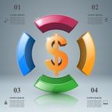 design för 3D Infographic isolerade den abstrakt för dollarsymbolen för bakgrund 3d illustrationen white Arkivbilder