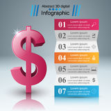 design för 3D Infographic isolerade den abstrakt för dollarsymbolen för bakgrund 3d illustrationen white Arkivfoton