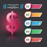 design för 3D Infographic isolerade den abstrakt för dollarsymbolen för bakgrund 3d illustrationen white stock illustrationer