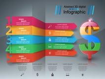 design för 3D Infographic isolerade den abstrakt för dollarsymbolen för bakgrund 3d illustrationen white Royaltyfri Foto