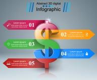 design för 3D Infographic isolerade den abstrakt för dollarsymbolen för bakgrund 3d illustrationen white Royaltyfri Fotografi