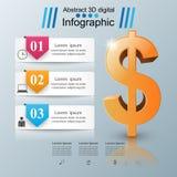 design för 3D Infographic isolerade den abstrakt för dollarsymbolen för bakgrund 3d illustrationen white royaltyfri illustrationer