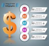 design för 3D Infographic isolerade den abstrakt för dollarsymbolen för bakgrund 3d illustrationen white vektor illustrationer