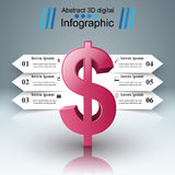 design för 3D Infographic isolerade den abstrakt för dollarsymbolen för bakgrund 3d illustrationen white Royaltyfri Bild