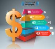 design för 3D Infographic isolerade den abstrakt för dollarsymbolen för bakgrund 3d illustrationen white Arkivfoto