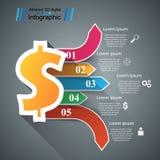 design för 3D Infographic isolerade den abstrakt för dollarsymbolen för bakgrund 3d illustrationen white Fotografering för Bildbyråer