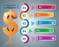 design för 3D Infographic isolerade den abstrakt för dollarsymbolen för bakgrund 3d illustrationen white Royaltyfria Bilder