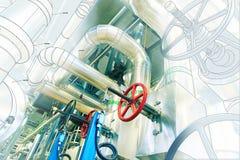 Design för dator CAD av rörledningar av moderna industriella maktplommoner Arkivbild