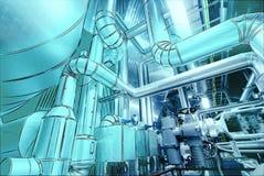 Design för dator CAD av rörledningar för moderna industriella maktplommoner Arkivbild