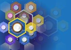 Design för digital teknologi för vektorillustration som är färgrik på hexago stock illustrationer