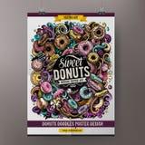 Design för Donutsklotteraffisch Mall för konfektteckenbräde Munkkaféskylt med handrawnklotter Hand royaltyfri illustrationer